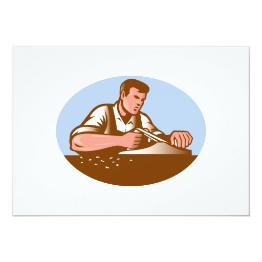 Carpenter Working With Smooth Plane Retro 5x7 Paper Invitation Card