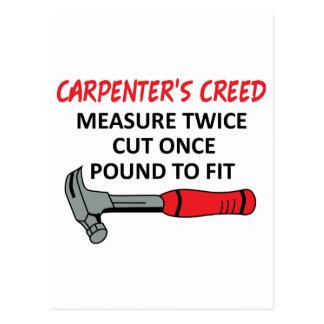Carpenter's Creed Postcard