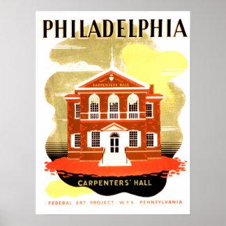 Carpenters' Hall in historic Philadelphia. WPA Print