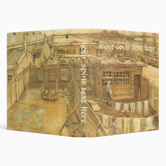 Carpenter's Yard and Laundry by Vincent van Gogh 3 Ring Binder