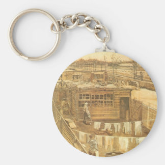 Carpenter's Yard and Laundry by Vincent van Gogh Basic Round Button Keychain