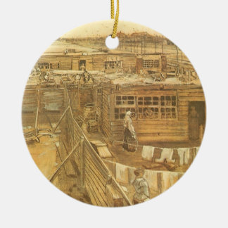 Carpenter's Yard and Laundry by Vincent van Gogh Ceramic Ornament