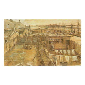 Carpenter's Yard and Laundry by Vincent van Gogh Poster