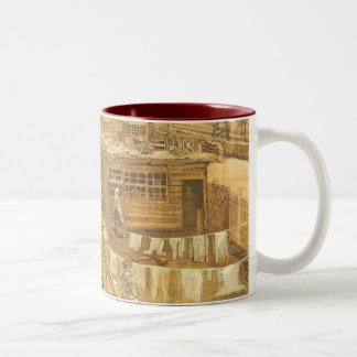Carpenter's Yard and Laundry by Vincent van Gogh Two-Tone Coffee Mug