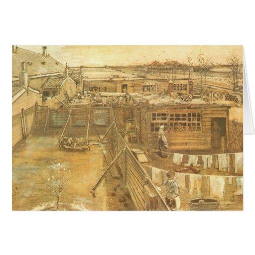 Carpenters Yard and Laundry, van Gogh, Vintage Art Greeting Card