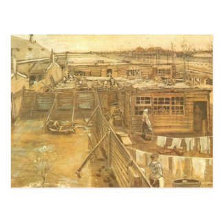Carpenters Yard and Laundry, van Gogh, Vintage Art Postcard