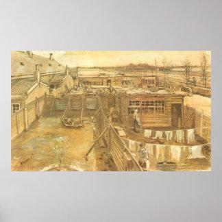 Carpenters Yard and Laundry, van Gogh, Vintage Art Poster