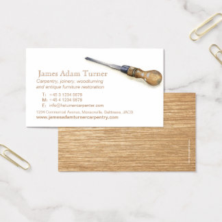 Carpentry carpenter chisel art business card