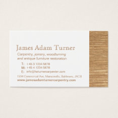 Carpentry Carpenter Wood Business Card at Zazzle