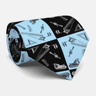 Carpentry Tools in Blue and Black Tiles Tie