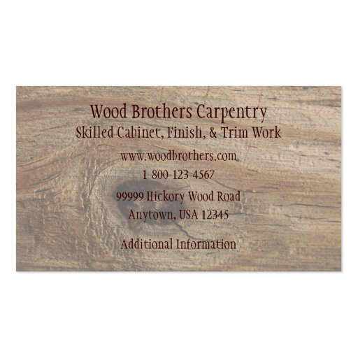Carpentry woodwork business card template flashek Gallery