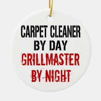 Carpet Cleaner Grillmaster Double-Sided Ceramic Round Christmas Ornament