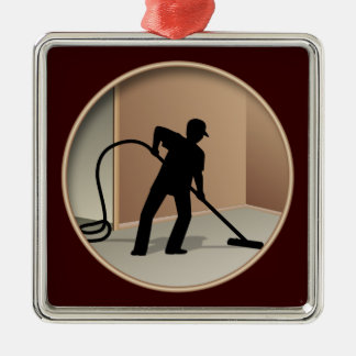Carpet Cleaning Square Metal Christmas Ornament