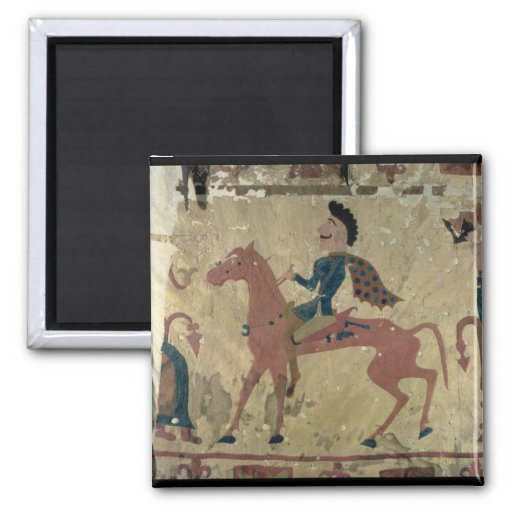 Carpet depicting a mounted warrior 2 inch square magnet