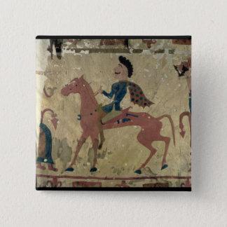 Carpet depicting a mounted warrior pinback button
