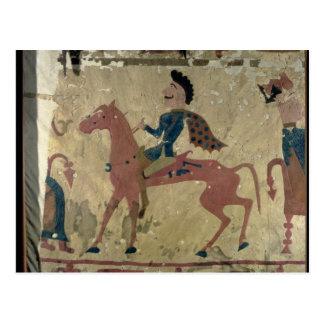 Carpet depicting a mounted warrior postcard
