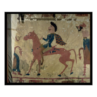 Carpet depicting a mounted warrior poster