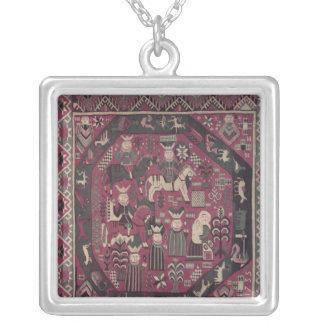 Carpet depicting knights silver plated necklace