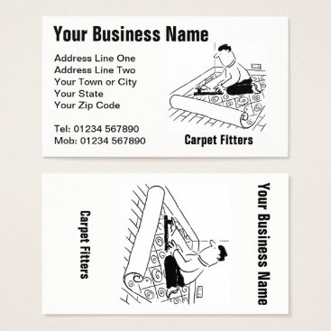 Carpet Fitting Services Cartoon Business Card