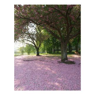 Carpet of prunus pink flowers customized letterhead