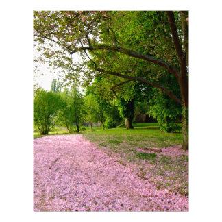 Carpet of prunus pink flowers letterhead design