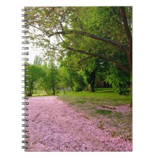 Carpet of prunus pink flowers note books