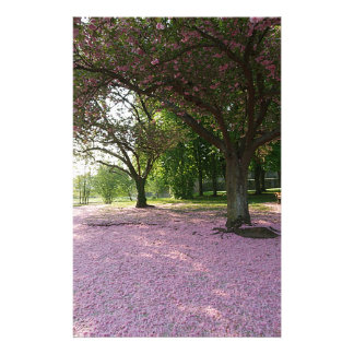 Carpet of prunus pink flowers customized stationery