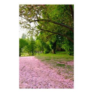 Carpet of prunus pink flowers stationery