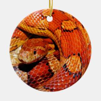 Carpet Snake Double-Sided Ceramic Round Christmas Ornament