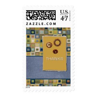Carpet Tiles and Sprockets 3D Thanks Postage Stamp