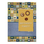 Carpet Tiles and Sprockets Birthday Party 5x7 Paper Invitation Card