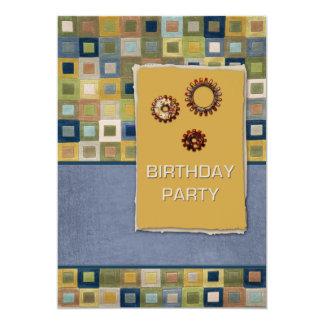 Carpet Tiles and Sprockets Birthday Party Announcement