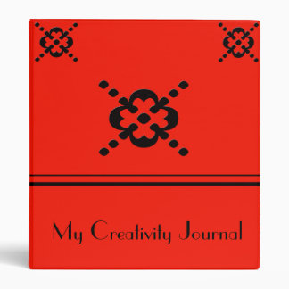Carpeta abstracta roja y negra del diseño floral