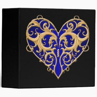Carpeta afiligranada azul del corazón