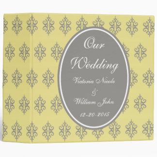 Carpeta amarilla y gris elegante del boda
