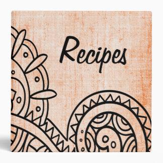 Carpeta anaranjada de la receta del adorno de