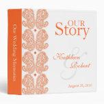 Carpeta anaranjada de las memorias del boda de Pai