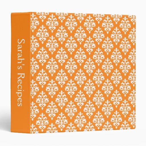 Carpeta anaranjada personalizada de la receta del