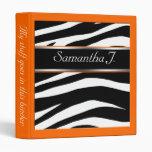 Carpeta anaranjada personalizada estampado de zebr