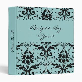 Carpeta azul clara y negra del libro del cocinero