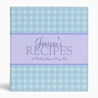 Carpeta azul de encargo de la receta de la comida