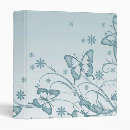 Carpeta azul de la mariposa del vintage
