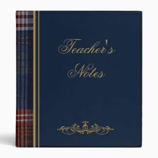 Carpeta azul de la tela escocesa del profesor