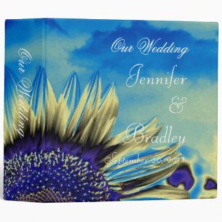 Carpeta azul del boda del girasol
