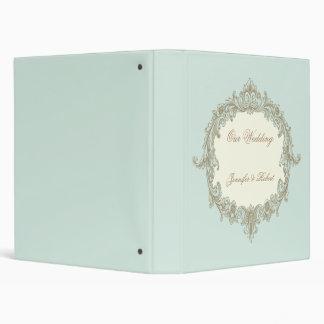 Carpeta azul del boda del marco del vintage de la