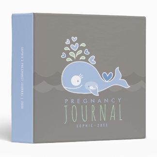 Carpeta azul del diario del embarazo del bebé de