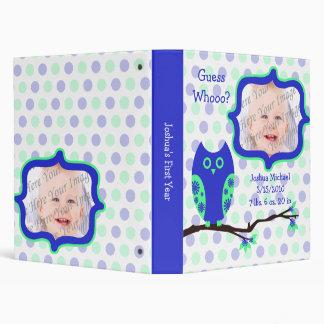 Carpeta azul del libro de la foto del bebé del búh