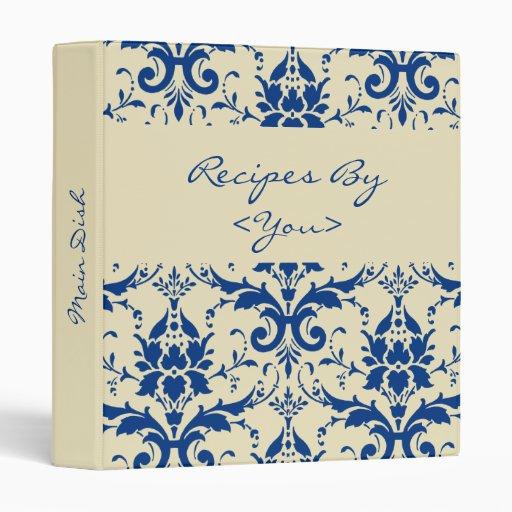 Carpeta azul del libro de la receta del damasco