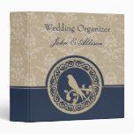 Carpeta azul del organizador del boda del damasco