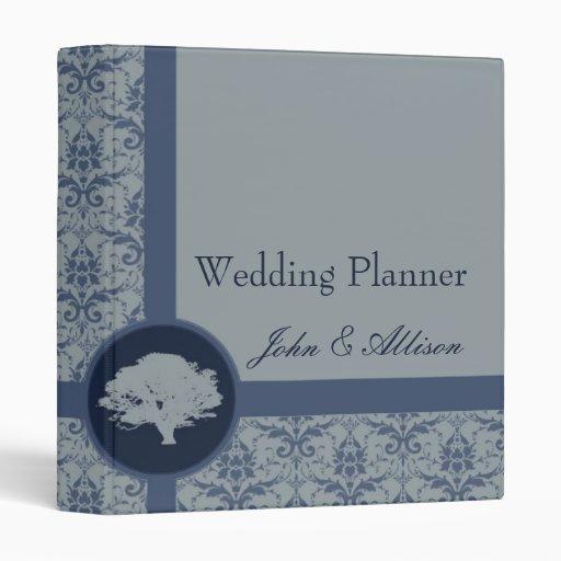 Carpeta azul del planificador del boda del roble d
